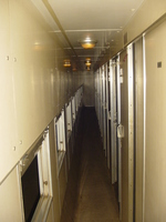 A railway sleeper corridor, windows on the left, doors on the right.  Dim lights in the ceiling.